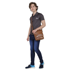 Leather Sling Bag : The Urban Explorer in Brown