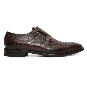 Croc Pattern Double Monkstraps : Double Monk