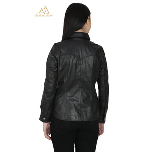Women's Slim Fit Leather Shirt Jacket : The Button Down