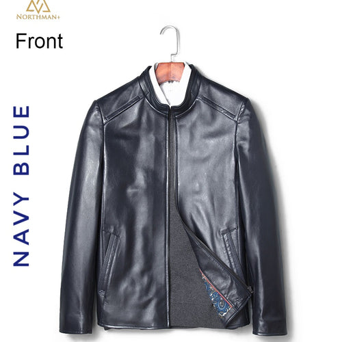 Classic leather jacket in Navy Blue for Men.