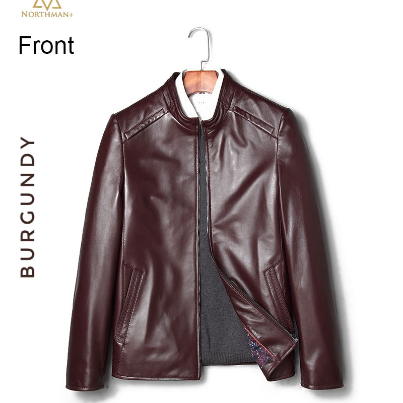 Classic leather jacket in Burgundy for Men.
