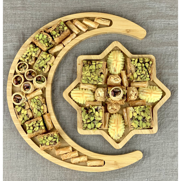 Moon & 8 Pointed Star Bamboo Wood Tray