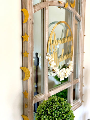 Crescent & Star Garland Gold Glitter