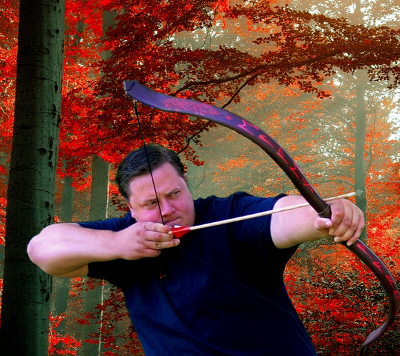 blood tree wood red redwood bloodtree tree blood warrior viking runes norse recurve bow longbow long hunting bow celtic celt bow arrow archery archer