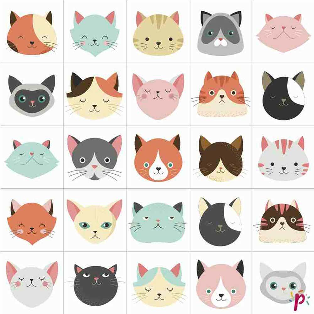 Pixdéco Cats too cute - Sugar paste decor of 25 squares pre-cut and printed! Pixdeco Pixcake