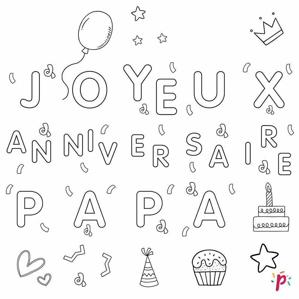 Pixdéco Cheerful Birthday Daddy - Decor paste with nice and good sugar of 25 squares pre-cut up to colour! Pixdeco Pixcake