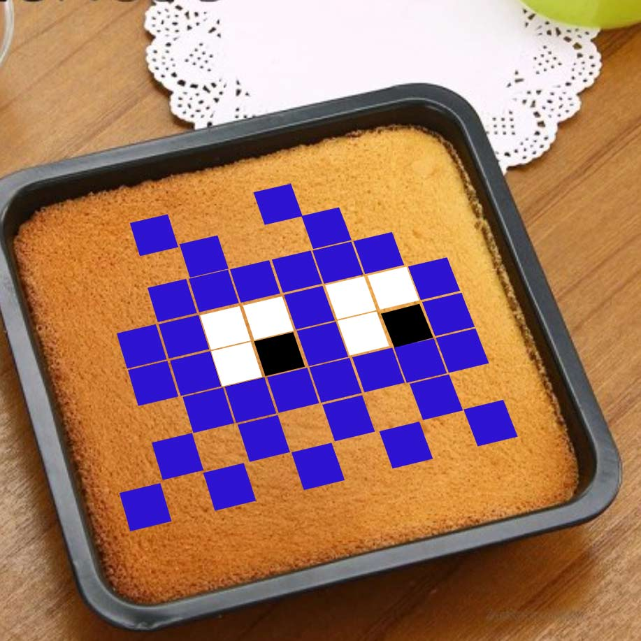 Space invader 2 - Rose - Pixcake the original...Le 1er Puzzle gourmand