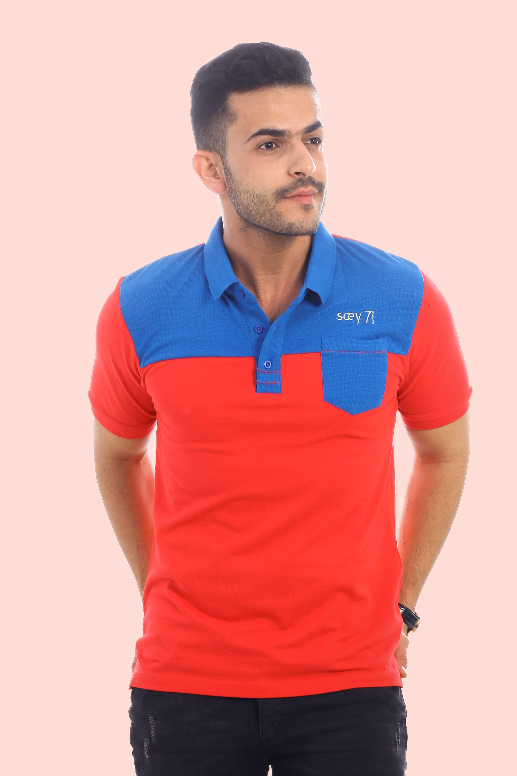 RUE TIMOTHÉE - Royal Blue and Glowy Red Pique Polo