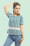 RUE ALICE - Netted Stripes Boat Neck Tee