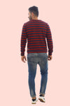 RUE NOEL - Cherry Red/Navy Stripes Sweatshirt (UNISEX)
