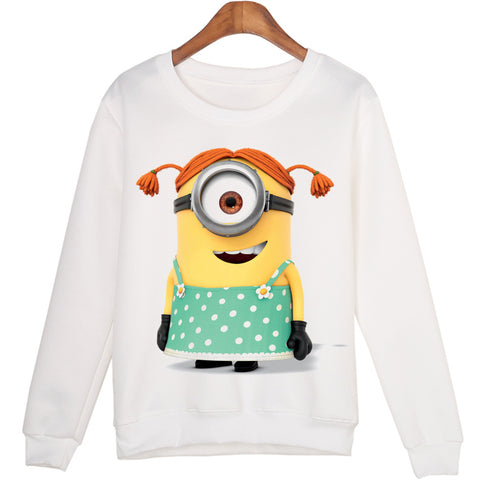 Winter Casual Minion Print Cartoon Crewneck 3D White Sweatshirt Women Hoodies 20 Styles - minion.store