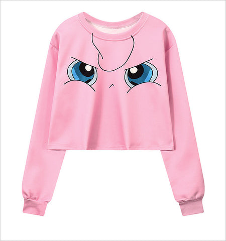 Pokemon Cropped Hoodie Jigglypuff Crop Sweatshirt Women - minion.store