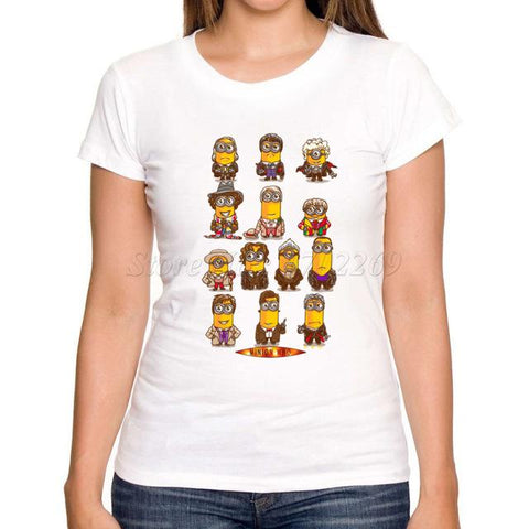 Women Minions Retro Printed T-Shirt - minion.store