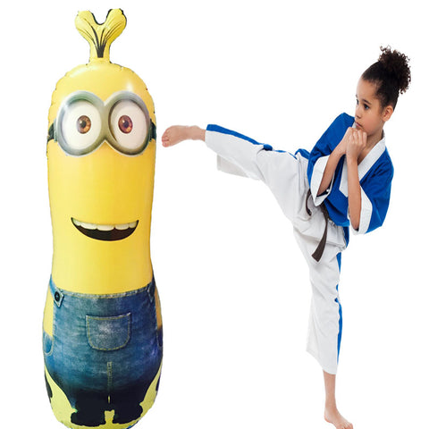 Pump + Punching Bag Stand 120cm Inflatable Minions Punching Ball Speed Boxing