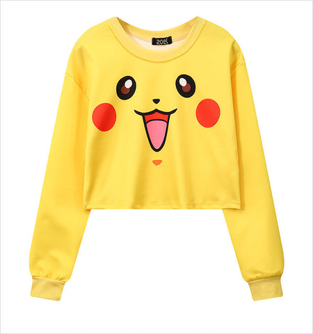 Pokemon Go Cropped Pikachu Hoodie Crop Sweatshirt Women - minion.store