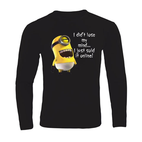 Funny Long Sleeve Men T Shirt Lose My Mind Minion Funny Cool T-shirts Plus Size S-3XL Top Sale - minion.store