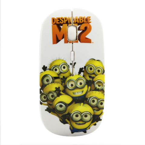 Wireless Mouse illumination Entertainment Minions Cartoon Character 2.4Ghz 1600DPI Adjustable Ultra-thin Mice For PC Laptop