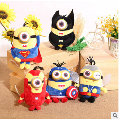 6pcs/lot 22cm 3D  Minion Captain America Superman Spider-Man Batman Plush Toys - minion.store