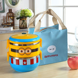 Minions Cartoon Lunch Box Thermal Leakproof Plastic Stainless Steel - minion.store