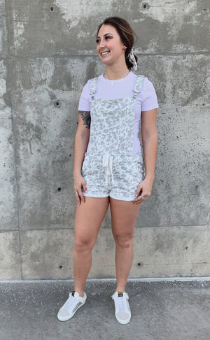 Grey Soft Leopard Printed Short Overall