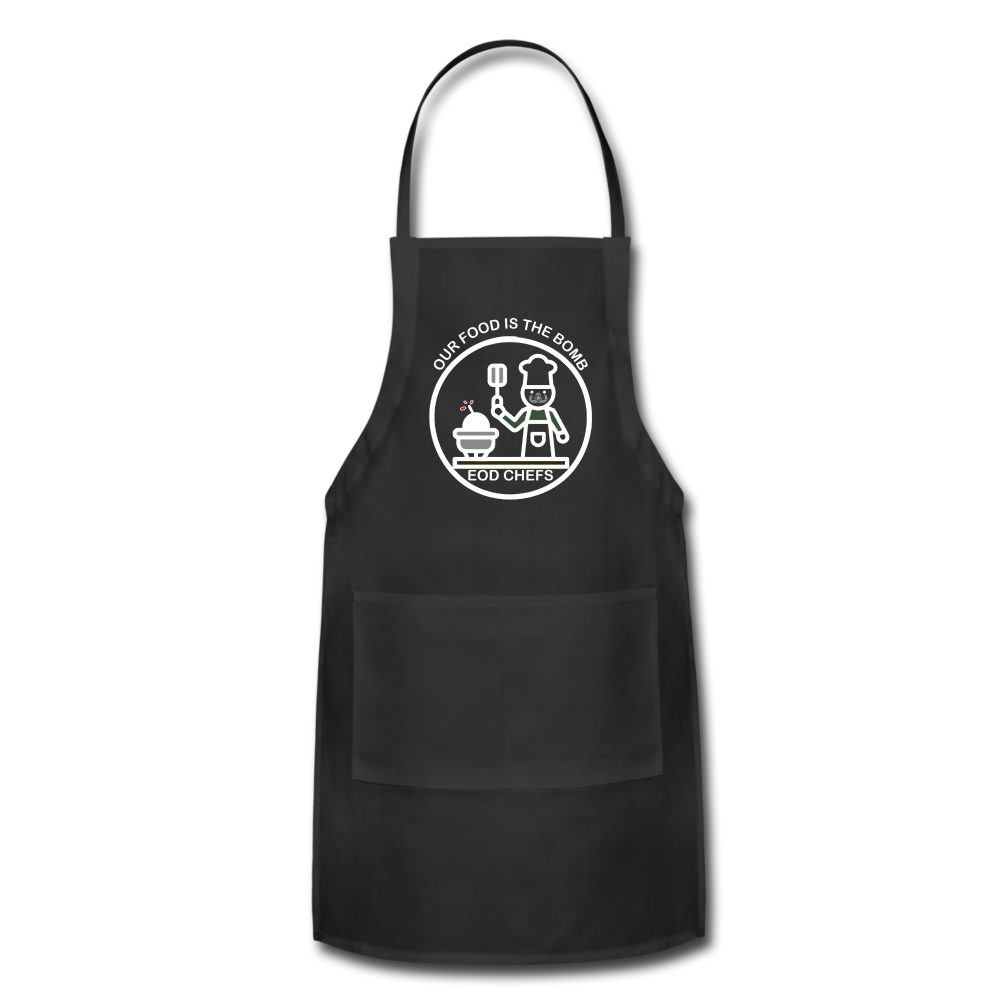 Food is the bomb Apron by Mikaela Narvaez - black