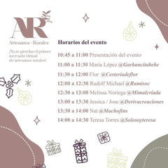 Artesanos Rurales Timetable