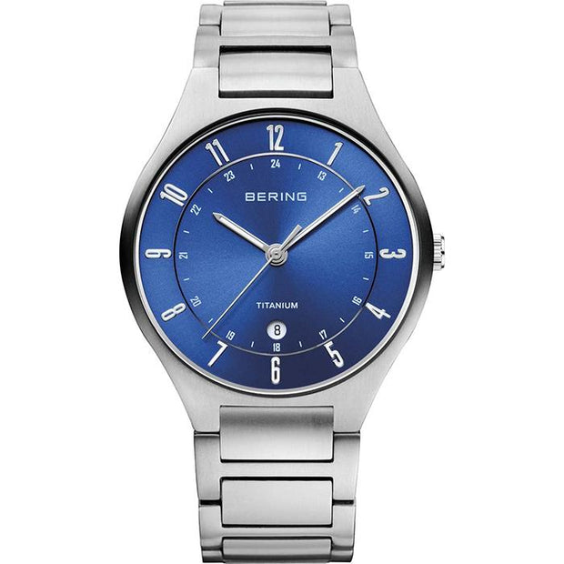 Bering Titanium blue 39 mm male Watch (11739-707)