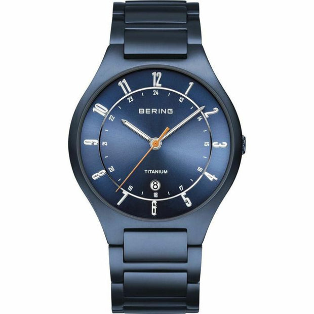 Bering Titanium blue 39 mm male Watch (11739-797)