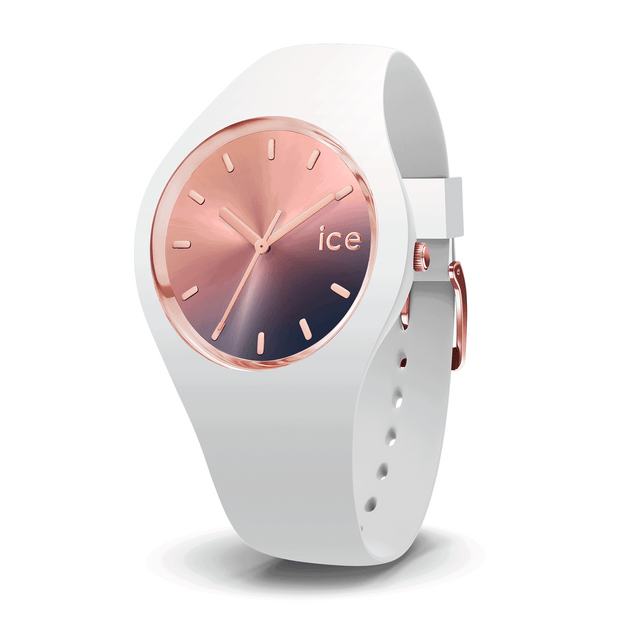 ICE WATCH Sunset Collection Rose Gold Case 40mm (M) Pink Purple Dial White Strap-COCOMI Australia