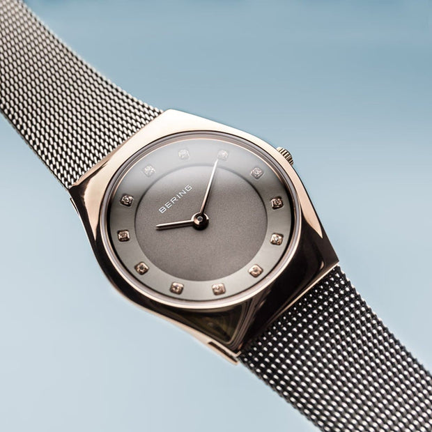 Bering Classic Polished Rose Gold Grey Mesh Watch-COCOMI Australia
