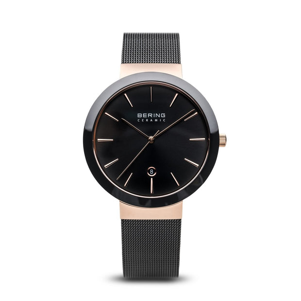 Bering Ceramic Polished Rose Gold Black Watch-COCOMI Australia