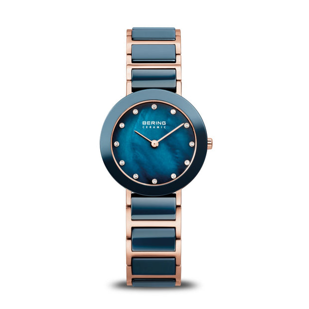Bering Ceramic Polished Rose Gold Blue Watch-COCOMI Australia