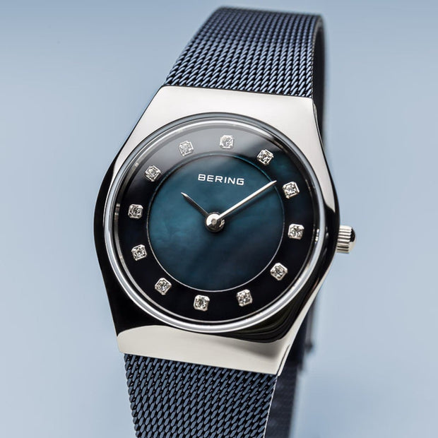 Bering Classic Polished Silver Navy Blue Mesh Watch-COCOMI Australia