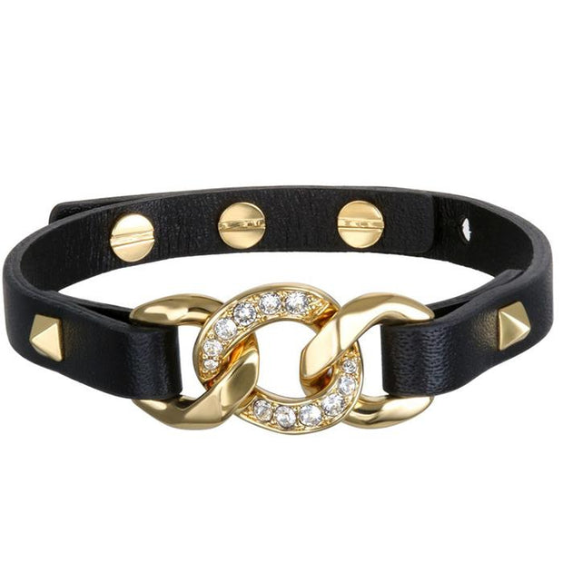 Karl Lagefeld Filed Chain Leather  Black & Gold Women's Bracelet (5378200)