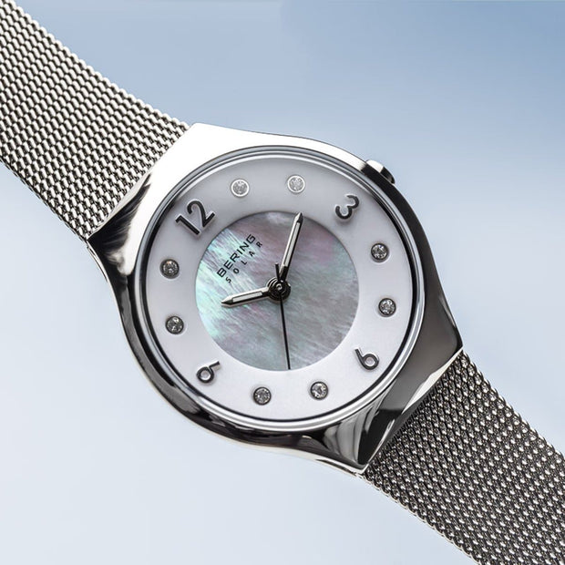 Bering Solar Polished Silver Mesh Watch-COCOMI Australia