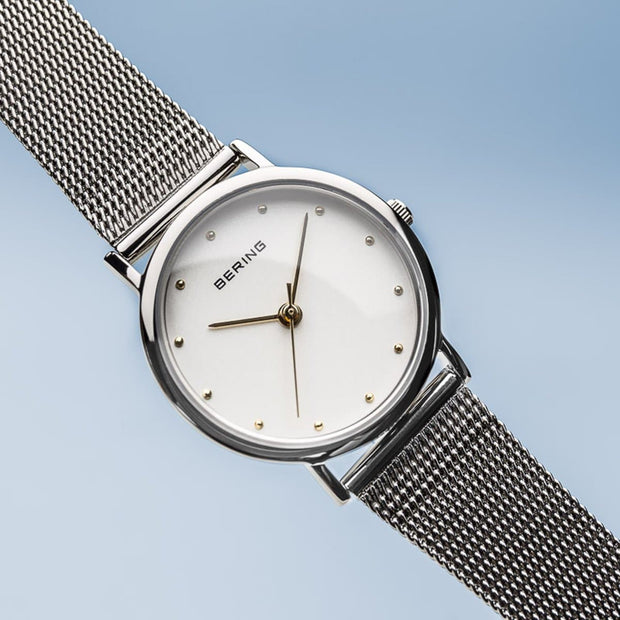 Bering Classic Polished Silver 26mm Mesh Watch-COCOMI Australia