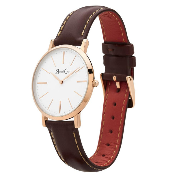 Mini Pinnacle Ultra Slim 34mm Rose Gold | Dark Brown Watch-COCOMI Australia
