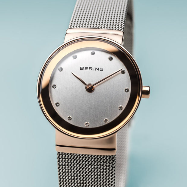 Bering Classic Polished Rose Gold Silver Mesh Watch-COCOMI Australia