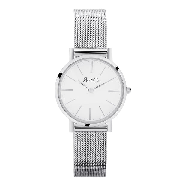 Petite Pinnacle Ultra Slim 30mm Silver | Mesh Strap Watch-COCOMI Australia