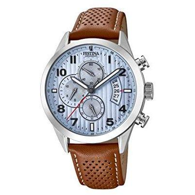 Festina Men's Quartz Chrono Sport Blue Dial Wrist Watch for Men with Silver Case and Brown Leather Strap analog Display and Leather Strap, F20271/4-COCOMI Australia