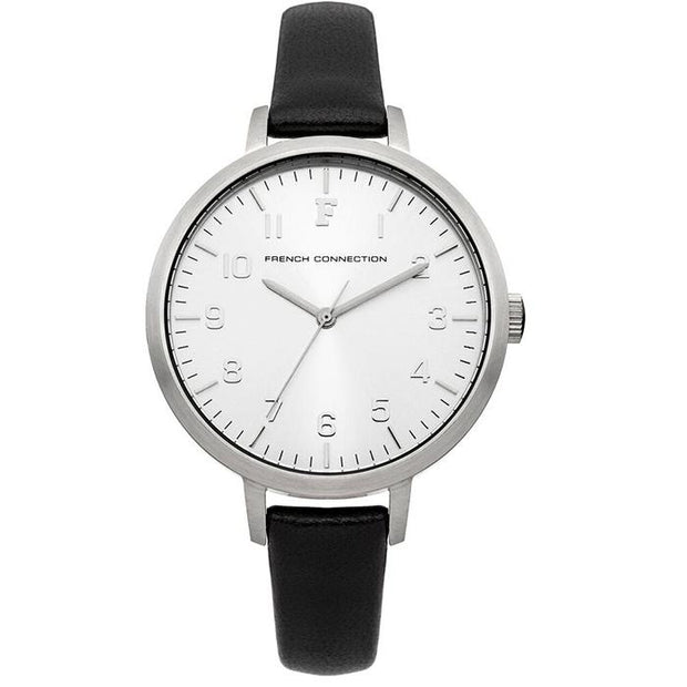 French Connection Silver Leather 36mm Women's Watch (FC1248BA)-COCOMI Australia