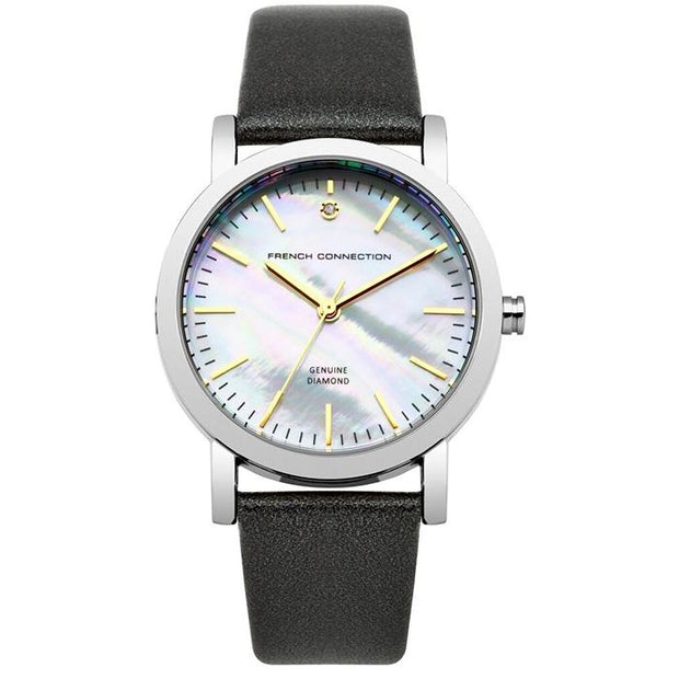 French Connection Pearl (Silver) Leather 34mm Women's Watch (FC1250B)-COCOMI Australia