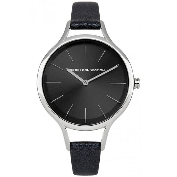 French Connection Silver Leather 32mm Women's Watch (FC1253B)-COCOMI Australia