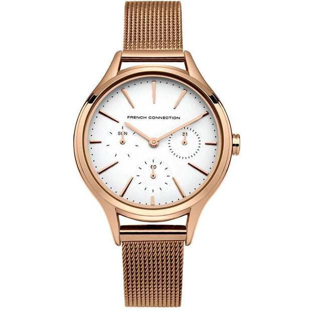 French Connection Leather  Silver 36mm Women's Watch (FC1273RGM)
