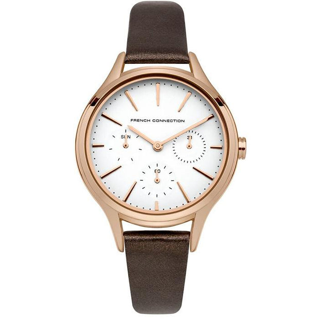 French Connection Leather Silver 36mm Women's Watch (FC1273TRG)-COCOMI Australia