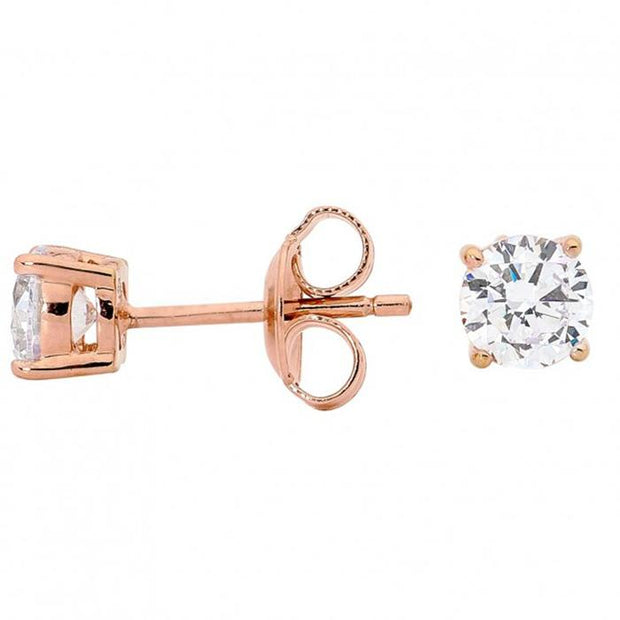 Georgini 5Mm Clear Round Stud Rose Gold Women's IE122RG