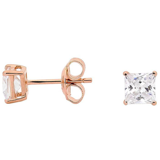 Georgini 5Mm Clear Square Stud Rose Gold Women's IE123RG