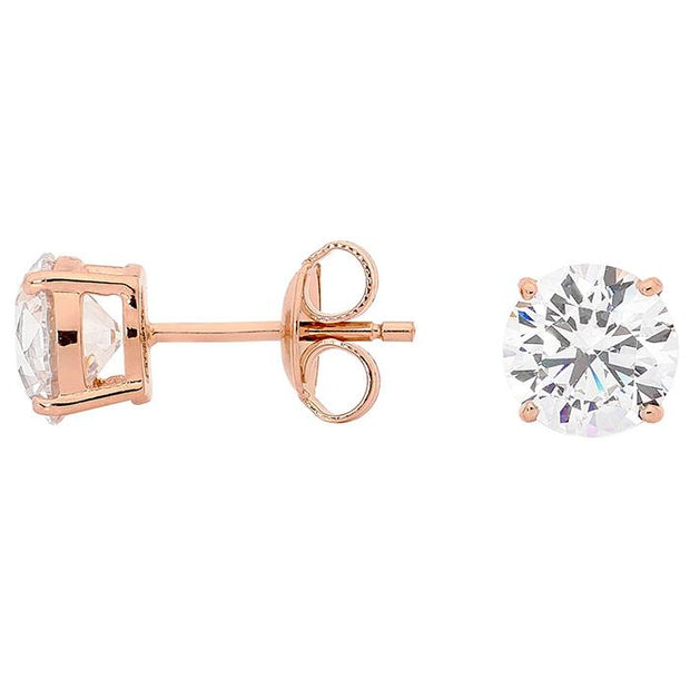 Georgini Clear Round Studs Rose Gold Women's IE206RG