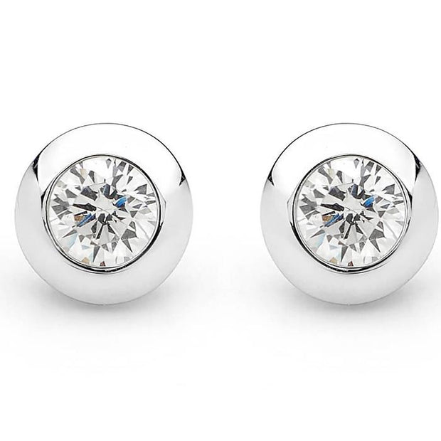 Georgini White Cz /High Shine Stud Earring Women's IE367W