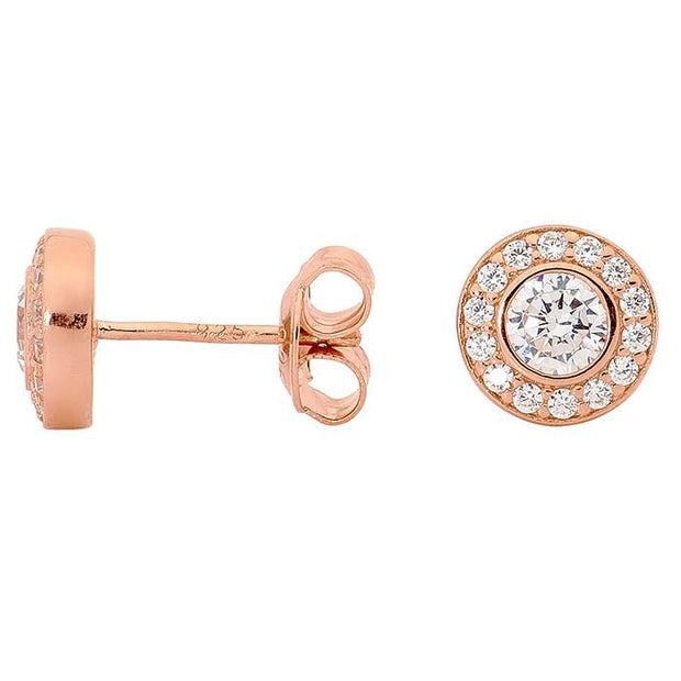 Georgini White Cz Round Earring Rose Gold Women's IE374RG